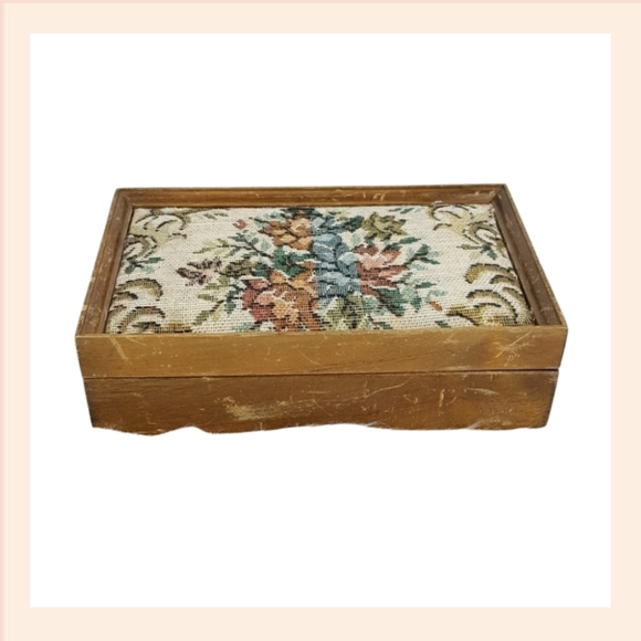 Vintage Pink Floral Rose Wooden Jewelry Box Decor
